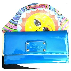 KATE SPADE TEAL PATENT LEATHER WALLET